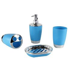 4 Piece Round Plastic Plating Bath Accessory Bathroom SetDST010 Blue ** You can get additional details at the image link.