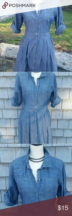 Old Navy demin Fit and Flare dress Excellent condition no rips or stains. Goes with everything.  Say size 12 but fits on the small side like a 10.  Very figure flattering too Old Navy Dresses Midi