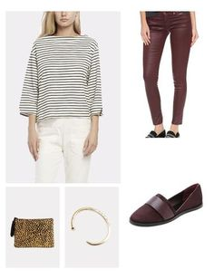 Add a little French flair to your outfit in the form of this Breton-stripe inspired tee by Solid & Striped. Mix is burgundy leatherette jeans and flat loafers, then accessorize with a cheetah clutch and minimalistic bracelet.