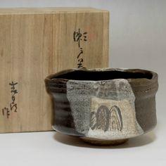 ORIBE CHAWAN Vintage Black Japanese Pottery Tea Bowl w AWASEBAKO #2075 - ChanoYu online shop
