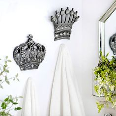 His/Her Crown Silver Jeweled Wall Plaque, Set of 2 | Kirklands