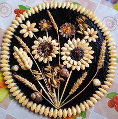 me ~ DIY Fall Decoration Diy Crafts Hacks, Diy Home Crafts, Creative Crafts, Art Crafts, Pista Shell Crafts, Seed Craft, Thali Decoration Ideas, Pistachio Shells, Seashell Crafts