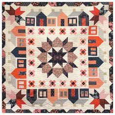 """Quilt made by Karen O'Connor aka /LadyKQuilts/ using Thimble Blossoms' """"Summerville"""" and """"Swoon"""" quilt patterns."""
