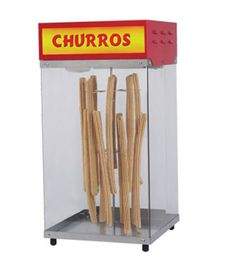 "ncrease your sales of delicious sugary churros by putting them on display in this hanging churros display from Gold Medal. This 16"" W x 16"" D x 30-1/2"" H cabinet is lighted, making it ideal for nighttime carnivals. And, if the delicious sweet cinnamon scent doesn't do it first, the bright red top of this merchandiser, with space for graphics, is sure to make customers start lining up for this delicious treat. http://www.katom.com/231-2049.html"