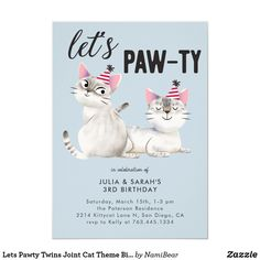 Let's Pawty Twins Joint Cat Theme Birthday Party Invitation - The Best Cat Party Ideas Anniversary Invitations, Birthday Party Invitations, Birthday Party Themes, Birthday Celebration, Birthday Ideas, Kitten Party, Cat Party, Puppy Party, Twin Birthday