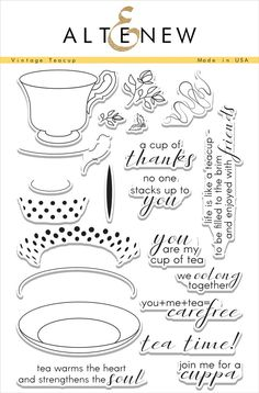 Inspired by designs found on vintage teacups, this set includes all of the stamps you need to create a nice, warm cuppa for your projects. Different elements can be layered to customize your teacup an