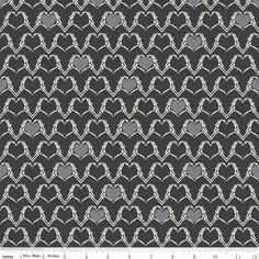 Zombie Valentine Fabric  - Valentine Zombie Heart in Hand by Emily Taylor Design for Riley Blake Designs C4961 Black - 1/2 yard