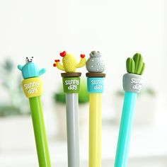 Cheap cactus gel pen, Buy Quality gel pen directly from China pen Suppliers: 6 pcs Sunny day Cactus gel pen ballpoint Black color gel-ink Stationery Office school supplies Material escolar Polymer Clay Pens, Fancy Pens, Pen Toppers, Cool School Supplies, Stationary School, School Stationery, Cute Pens, Pen Collection, School Accessories