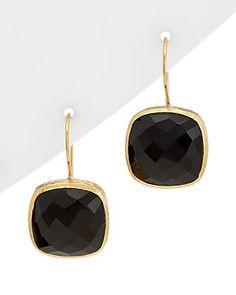 Felix & Lola by Rivka Friedman 18K Clad Silver Onyx Drop Earrings