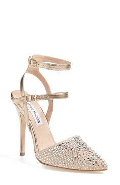 Steve Madden 'Porttt-R' Pump (Women) at Nordstrom.com. Glittery rhinestones embellish an almond-toe pump styled with a duo of slender metallic ankle straps.