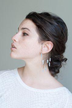 Quartz Crystal Ear Cuff. Oxidized Silver Ear Wrap. No Piercing. Unique Body Jewelry