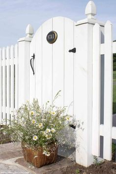 Garden Gate and Picket Fence. Love the address on the gate. White Picket Fence, White Fence, Picket Fences, Picket Gate, Front Gates, Front Yard Fence, Cottages By The Sea, Beach Cottages, Garden Gates And Fencing