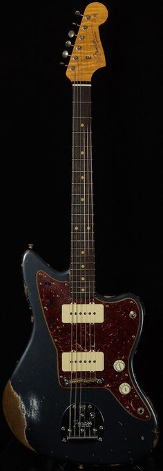 Fender Jazzmaster (Custom Shop, maybe?) in worn Charcoal Frost Acoustic Guitar Notes, Fender Acoustic Guitar, 12 String Acoustic Guitar, Guitar Pics, Music Guitar, Electric Guitar And Amp, Electric Guitars, Best Guitar Players, Fender Usa