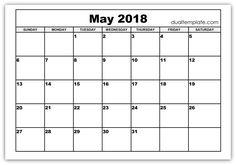 May 2018 Calendar Printable Template Holidays PDF Word - Dual Template May 2018 Calendar, Calendar Printable, Telugu, Printables, Templates, Words, Nation State, Holidays, Usa