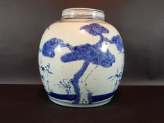 Antique Chinese Blue and White Ginger Jar 9 inches