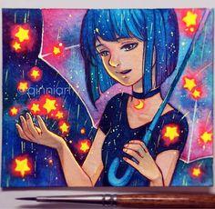 Star Showers by Qing Han Beautiful Drawings, Cool Drawings, Estilo Anime, Galaxy Art, Fantasy Illustration, Crayon, Pretty Art, Animation, Disney Art