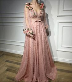 deep v-neck long prom dress flowers pearl a-line long sleeve evening dress #promdresses #fashion #shopping #dresses #eveningdresses #pink