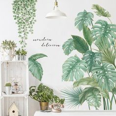 Buy Tropical Leaves Green Plant Wall Stickers Vinyl Decal Living Room Art Mural Cxz at Wish - Shopping Made Fun Wall Stickers Grass, Nursery Wall Stickers, Vinyl Wall Stickers, Living Room Wall Stickers, Living Room Murals, Wall Murals, Vine Wall, Plant Wall, Rooms Home Decor