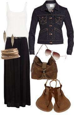 """Black Long Skirt"" by belle-vargas on Polyvore"