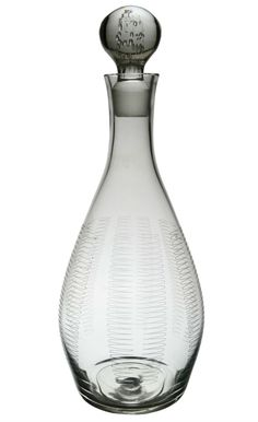 Art Deco Drop Shaped Wine Decanter with Cut Glass Decoration