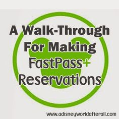 It's A Disney World After All: A Walk-through for Making FastPass+ Reservations at Walt Disney World