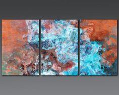 Large triptych abstract art 30x60 canvas print Southwest Spirit