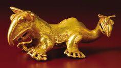 Pre-Columbian:Metal/Gold, Supernatural Animal Pendant. Veraguas, Chiriquí. A.D. 900 - 1520.Gold, Weight 236.83 grams. Height 1 7/8 in. Length 4 7/1...
