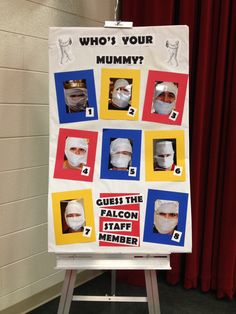 "Scholastic Book Fair ""Mummy Monday"". Students guessed the mummy staff person from the pictures on the board. This would be a fun book fair activity to adapt to any theme!"