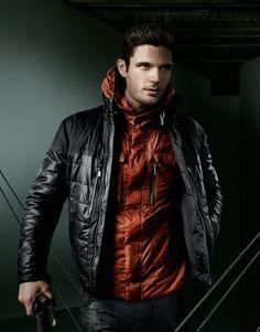 black & red sports jacket, dark jeans / men fashion