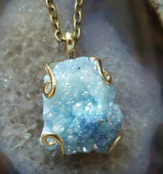 Aqua aura Druzy Quartz necklace x  https://www.etsy.com/uk/listing/259215001/aqua-aura-druzy-quartz-crystal-necklace