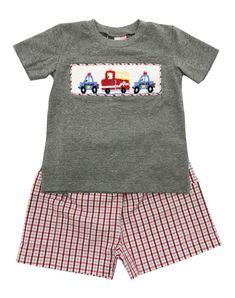 841c36836e ... Grey T-Shirt   Red Grey Checked Shorts Set w  Smocked Police Cars    Fire Truck. Banana SplitPolice CarsFire TrucksBaby Boy OutfitsSmockingInfant Kids ...