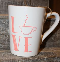 16 Oz White Mug LOVE Black Coral Glitter by threepaintedarrows