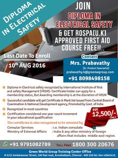 GWG's double dhamaka offer for diploma course in electrical safety. http://greenwgroup.co.in/trai…/diploma-in-electrical-safety/ ‪#‎diplomacourseinelectricalsafety‬