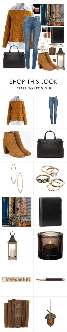 """""""[21/31] Ready to go 🍂🍃"""" by decimaollin ❤ liked on Polyvore featuring Chicwish, Aquazzura, Burberry, Lydell NYC, Improvements, Bobbi Brown Cosmetics, DutchCrafters, Caran d'Ache and Holiday Memories"""