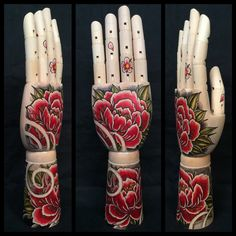 Large wooden hand mannequin with original drawing door Inkspirednl Sick Tattoo, Cool Tattoos, Japanese Hand Tattoos, Hand Tats, Red Peonies, Wooden Hand, Decorative Accessories, Body Art, Hands