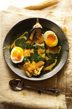 Israeli Soft Boiled Eggs with Charred Eggplant, Chile Sauce & Tahini | SAVEUR