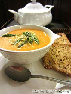 Lena's Vegan Living | Butternut Bisque, Butternut Squash with Sweet Potatoes & Asparagus Vegan - Gluten Free