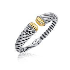 18K Yellow Gold and Sterling Silver Diamond Decorated Cuff Bangle (.11 ct. tw.)
