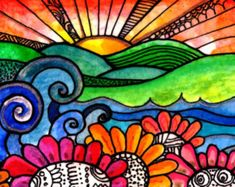 Over The River by Robin Mead - Over The River Painting - Over The River Fine Art Prints and Posters for Sale this is a watercolor and ink on 140 lb paper Art And Illustration, Illustrations, Arte Elemental, Garden Painting, River Painting, Painting Abstract, Arte Pop, Art Moderne, Bird Prints