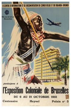 Vintage Poster. L'Exposition Coloniale de Bruxelles