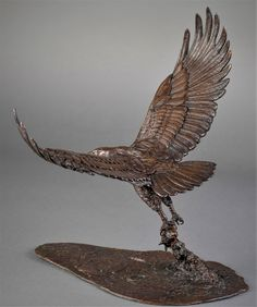 by Adrian Flanagan titled: 'African Fish Eagle (Fishing Hunting Catching statue)'. Bird Sculpture, Animal Sculptures, Bronze Sculpture, Bird Fountain, Life Size Statues, Horse Anatomy, Eagle Art, Eagle Wings, Bird Statues