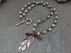 Solid Bronze Feather Bohemian Crochet Necklace by JunoniaDesigns
