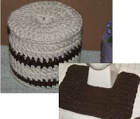 This is an updated version of my toilet paper cover and I have added a pattern for a matching rug designed to fit around the base of the . Crochet Coaster Pattern, Crochet Rug Patterns, Bag Patterns, Knitting Patterns, Crochet Kitchen, Crochet Home, Free Crochet, Toilet Mat, Toilet Paper