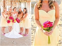light yellow bridesmaid dresses, pink gerbera daisy bridesmaid bouquets, pretty bride and her bridesmaids, yellow and pink beach wedding, Macon Photography
