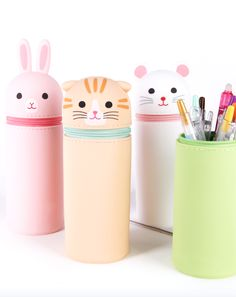 Give your pens an adorable new home with this cute and innovative pencil case by a Japanese company Lihit Lab. It can be quickly transformed into a pencil holder that will look super adorable on your desk! Pencil Case Pouch, Cute Pencil Case, Pen Case, Pencil Cases, Pencil Holder, Kawaii Pens, Kawaii Diy, Bullet Journal Writing, Bookmark Craft
