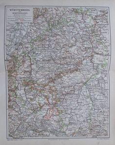 1897 WÜRTTEMBERG UND HOHENZOLLERN alte Landkarte Karte Antique Map Lithographie