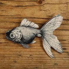 Goldfish Brooch - Goldfish Jewelry - Goldfish Pin - Fish Pin - Black and White…