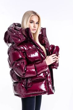 Down Winter Coats, Down Coat, Cold Weather Outfits, Winter Outfits, Puffy Jacket, Outerwear Women, Wine, Girls, Jackets For Women