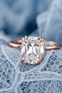 24 Moissanite Engagement Rings That Sparkle Like A Diamond moissanite engagemen. - 24 Moissanite Engagement Rings That Sparkle Like A Diamond moissanite engagement rings gold cushio - Engagement Ring Styles, Rose Gold Engagement Ring, Vintage Engagement Rings, Solitaire Engagement, Stacked Wedding Rings, Beautiful Wedding Rings, Elegant Wedding, Ring Set, Ring Verlobung
