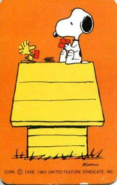 Snoopy and Woodstock on Top of Doghouse Playing Cards